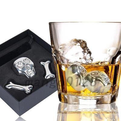 3X Stainless Steel Whiskey Stones Ice Cubes Soapstone Chillers Drink & Gift Box