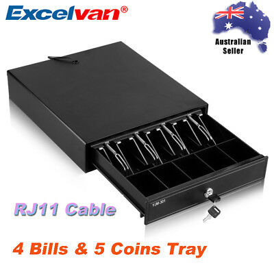 Manual/Electronic Heavy Duty Cash Drawer Register POS Box 4 Bills & 5 Coins Tray