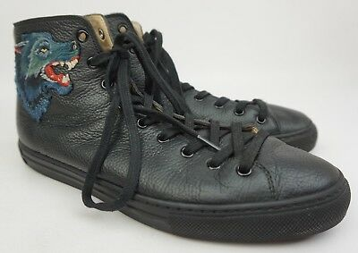 1118d703717 Gucci Major Black Leather Angry Wolf Sneakers Men s Shoes Size 7.5 G   8.5  US