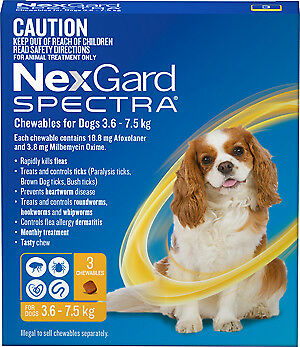 NexGard Spectra Chewables for Dogs 3.6 - 7.5 kgs YELLOW 3 PACK