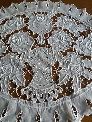 Antique Stunning Cutwork Embroidery Unique Oval Table Runner Madeira Style Ivory