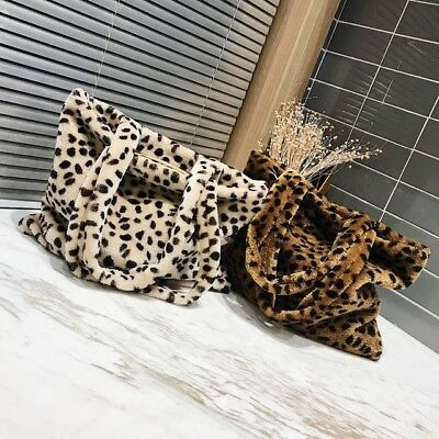 Leopard Print Plush Tote Vintage Fashion Velvet Shoulder Bag Faux Fur Large Bag