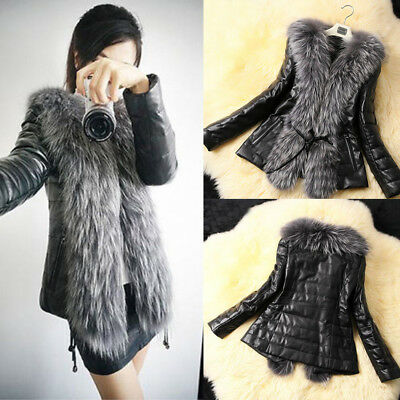 Women's Cotton Leather Warm Overcoat 2016 Winter Coat Parka Jacket Fur Collar