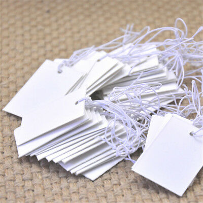 100Pcs White Paper Jewelry Clothes Label Price Tags With Elastic String 5*3c ATA