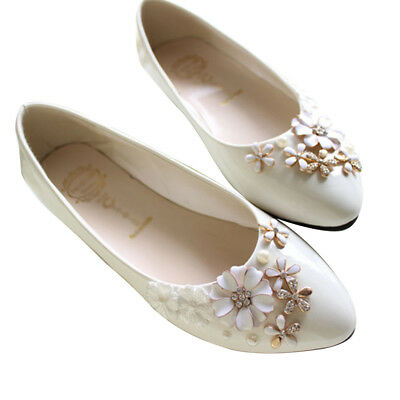 Flowers High/Flat Heels Women Lady Bride Jewelry Pointed Princess Wedding Shoes
