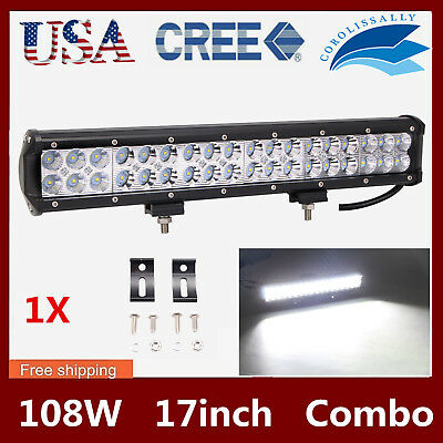 17inch 108W CREE LED Work Light Bar Combo Offroad Truck Boat Jeep Fog SUV PK 18""