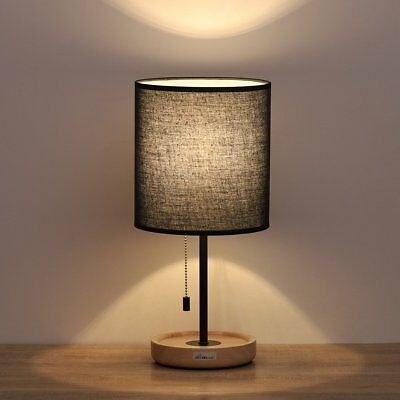 HAITRAL Wooden Table Lamps Black - Minimalist Bedside Desk Lamp with Wood Base