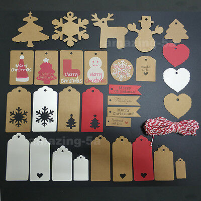 50pcs Kraft Paper Gift Tags Scallop Label Luggage Merry Christmas Blank String