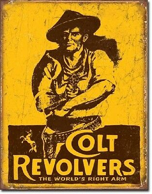 Colt Revolvers World's Right Arm Gun Distressed Retro Vintage Metal Tin Sign New