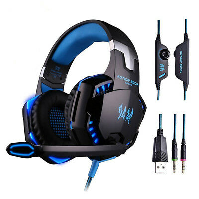 EACH 3.5mm Gaming Headset MIC LED Headphones for PC Mac Laptop PS4 Slim Xbox One