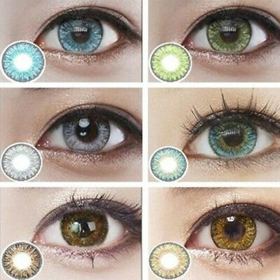 1 Pair Colored Cosmetic Contact Lenses 0 Degree Yearly Use Makeup Eyewear Pratiq