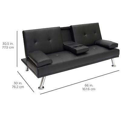 Futon Sleeper Sofa Faux Leather Fold Down Recliner Cup Holders Comfort Armrest