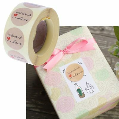 1 Inch Round Natural Kraft Handmade Paper with Love Stickers 500 Labels per roll