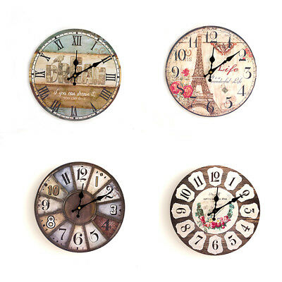 20 Types European Round Retro Rustic Analog Wooden Home Wall Clock Decorating