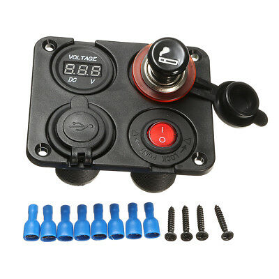 Marine Car Truck Dual Usb Charger Volt Meterr 12V Socket Switch 4 Hole Panel