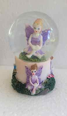 SNOWGLOBE Waterball FAIRY WITH HANDS ON KNEE & Fairies on Base Ornament 7cm