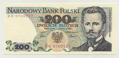 Poland 200 Zlotych 1-6-1986 Pick 144.c UNC Uncirculated Banknote