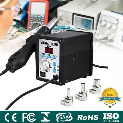 YIHUA 959D SMD Soldering Iron Station Rework Kit Hot Air Heat Gun with 3 Nozzles