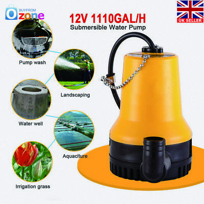 12V 1110GAL/H Submersible Water Pump Clean Clear Dirty Pool Pond Flood