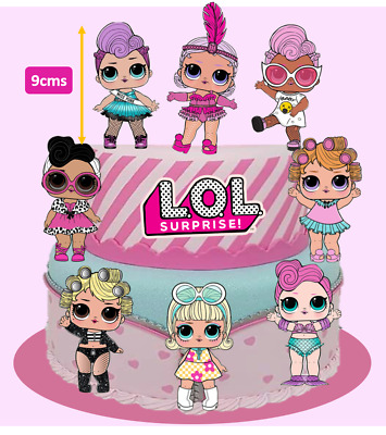 8x Large LOL Dolls + Logo Edible Cake Cupcake Toppers Decorations #257