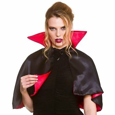Adult Deluxe Mini Vampire Cape Cloak Fancy Dress Halloween Accessory Costume