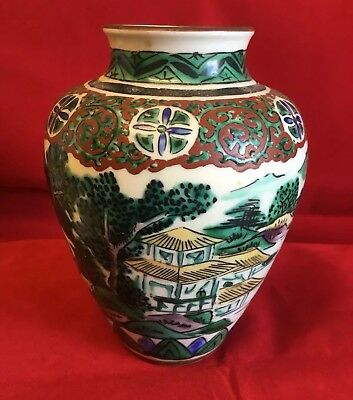 Antique Chinese Japanese Famille Verte Hand Painted 19th Century Vase