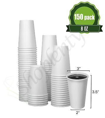 Hot White Paper Coffee Cups [ 8oz - 150 Pack ] Disposable Coffee Cups Ideal for
