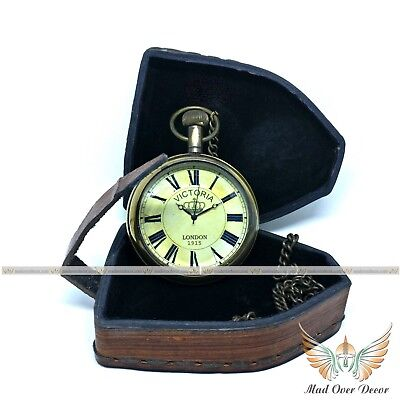 Antique Style Solid Brass Victorian Royal Navy Grandfather Pocket Watch W Cover