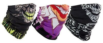 Motorcycle Face Mask Neck Tube Triple Pack Joker Skull Faces Bandana Skull Cap
