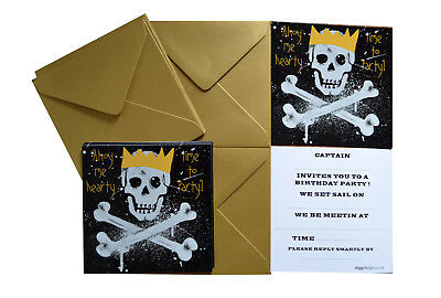 Special offer! PACK of 10. PIRATE party invites + Metallic GOLD envelopes!