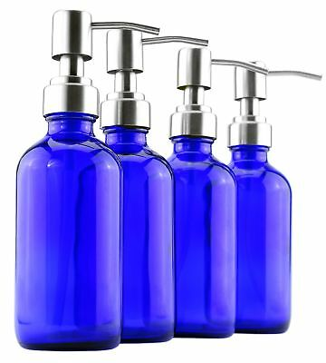 8-Ounce Cobalt Blue Glass Bottles w/ Stainless Steel Lotion Pumps (4-Pack);