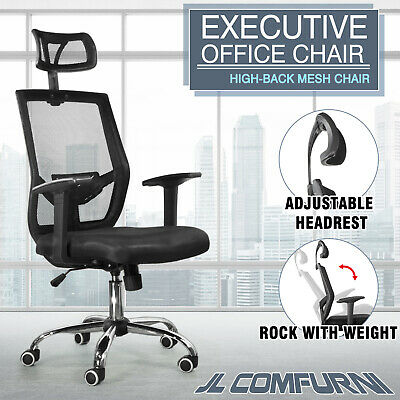 Ergonomic Mesh Office chair Adjustable Headrest Lift Rock HighBack Swviel Chrome