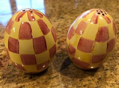 MacKenzie Childs Salt Pepper Shakers WALLCOURT EGG Rare Retired Yellow Red Pink