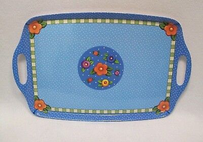 2010 Mary Engelbreit ME Ink Serving Tray Handles Melamine Blue Floral Dots USA