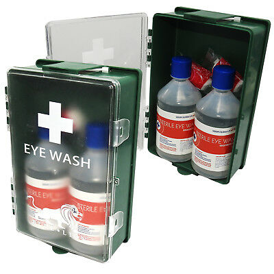 Qualicare Warehouse Lab Office Emergency Eye Wash Wall Mount Station Twin Pack