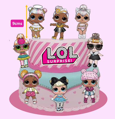 8x Large Glam LOL Dolls + Logo Edible Cake Cupcake Toppers Decorations #245