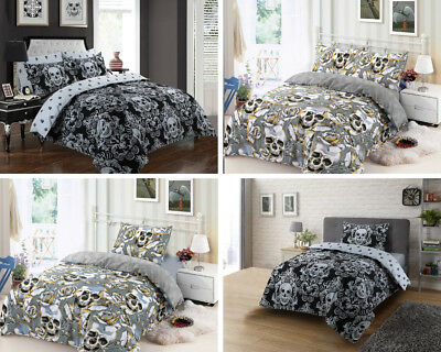 Halloween Skull Duvet Cover Quilt Set Cotton Rich Quilt Covers Silver All Sizes