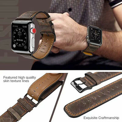 40/44mm Retro Genuine Leather iWatch Band Strap for Apple Watch Series 5 4 3 2 1