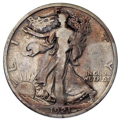 1921 50C Walking Liberty Half Dollar in VG Condition, Key Date, Letters Clear