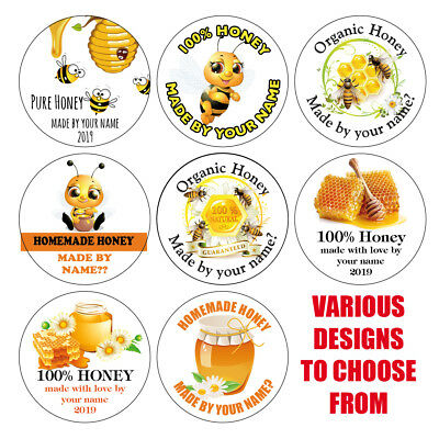 Personalised HONEY Pot Lid Jar Labels Stickers Homemade Preserves Conserve 1031