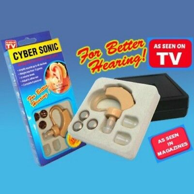 AS SEEN ON TV - New CYBER SONIC Sound Hearing Amplifier Aid + extras in Case