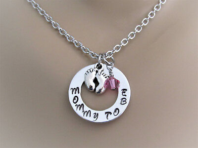 Mommy To Be Hand Stamped Necklace with Silver Tiny Feet Charm, Swarovski Crystal