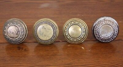 A Lot of 4 Brass + Antique Vtg Ornate Metal Door Knobs Collection Restore Shabby