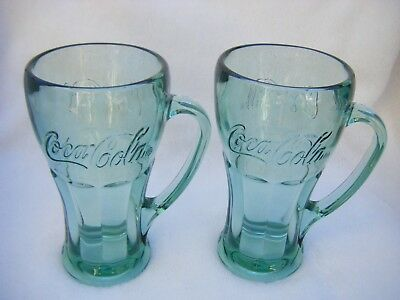 Coca Cola Large Heavy 16 oz. Green Libbey Glass Mug Stein w Handle SET of 2
