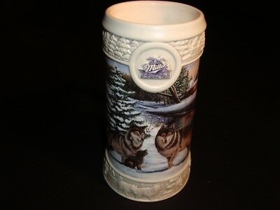 "1999 MILLER HOLIDAY STEIN - ""DECEMBER DUSK"" by ERIC BRYANT  - FREE SHIPPING"