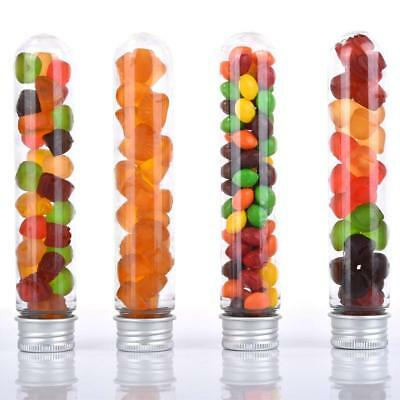 Amazlab Gumball Candy Tubes, Clear Plastic Lab Test Tubes with Silver Lid,