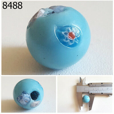 Vintage Roman Art Floral EYE Islamic Mosaic SKY Blue Glass Bead #8488