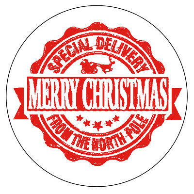 NORTH POLE SPECIAL DELIVERY Christmas Stickers Seal Stamp Effect Label 1035