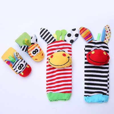 1 set 4 Cute Animal Infant Baby Kids Hand Wrist Bell Foot Sock Rattles Soft Toy