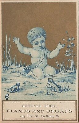 Victorian Trade Card-Gardner Bros Pianos & Organs-Portland, OR-Cherub & Frogs